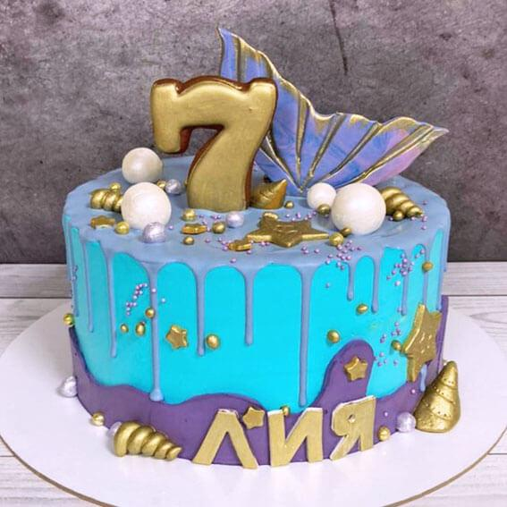 Торт с хвостом русалки