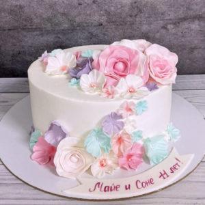Торт с цветами для девочки