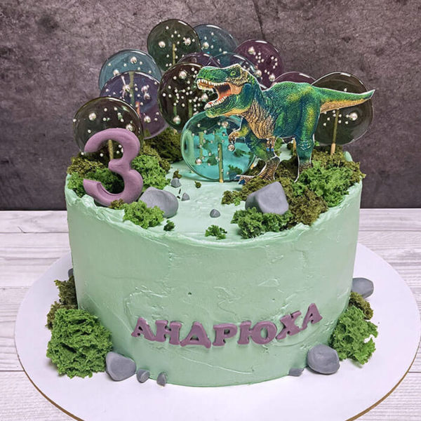 Торт динозавры для мальчика