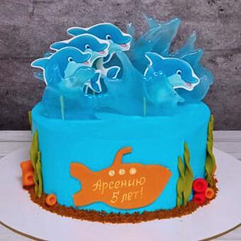 Торт с дельфинами